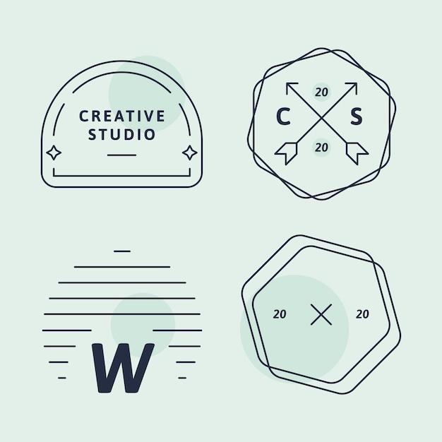 Conjunto de logotipo de empresa simple vector gratuito