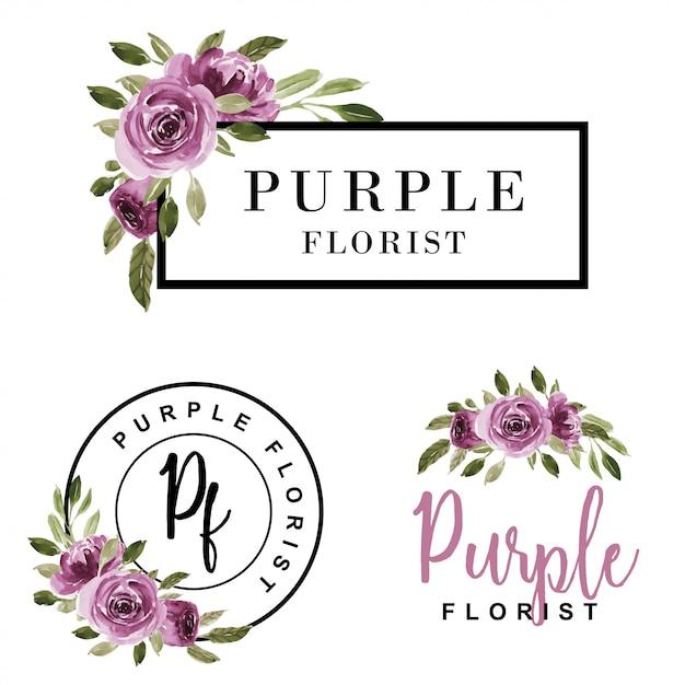 Conjunto de logotipo femenino acuarela flor morado. Vector Premium