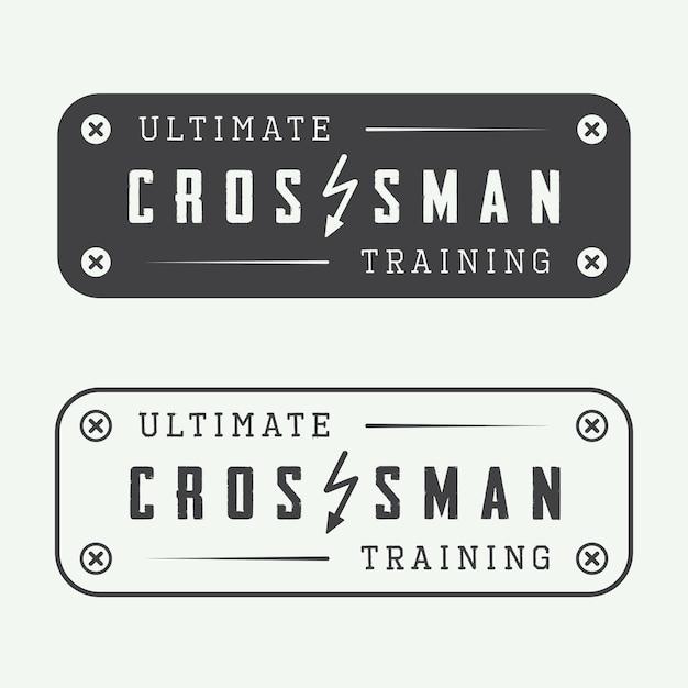 Conjunto de logotipo de gimnasio entrenamiento crossman Vector Premium