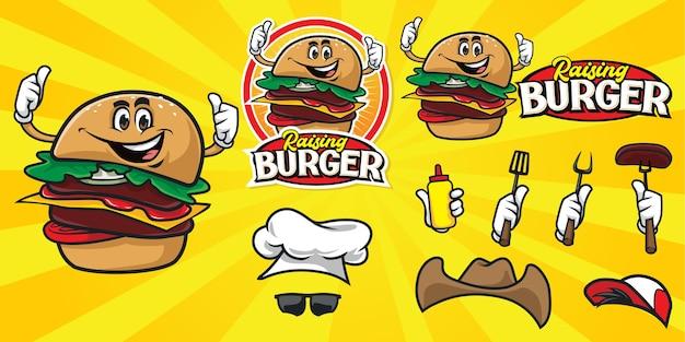 Conjunto de logotipo de hamburguesa de dibujos animados feliz Vector Premium