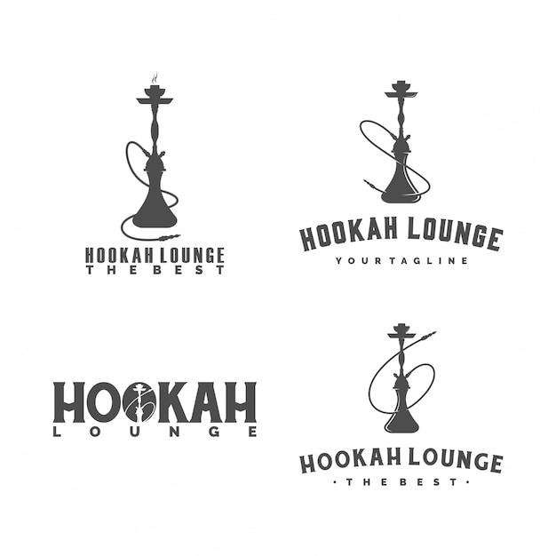 Conjunto de logotipo hookah Vector Premium