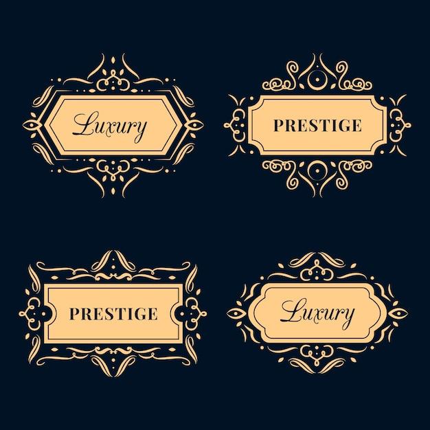 Conjunto de logotipo de lujo retro vector gratuito