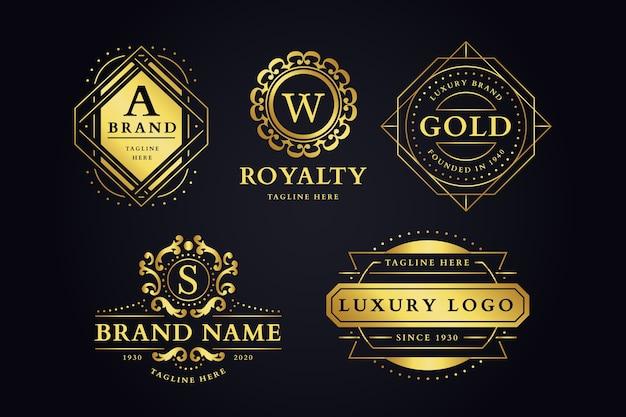 Conjunto de logotipo de marca retro lujoso Vector Premium