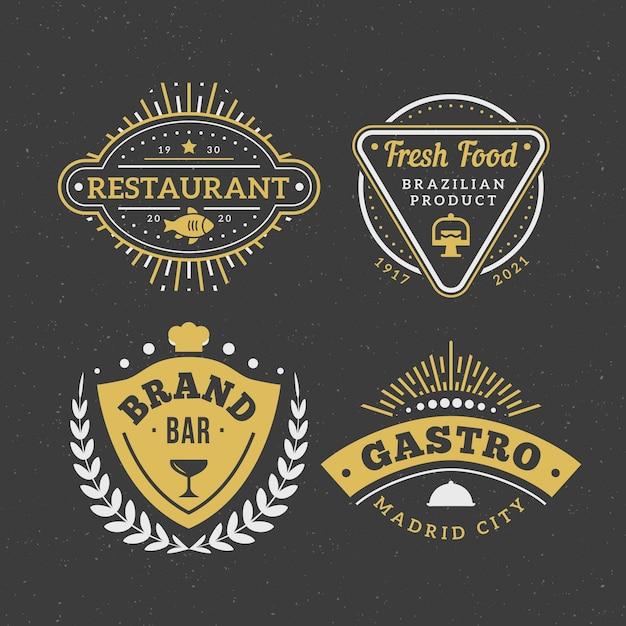 Conjunto de logotipo de marca vintage de restaurante vector gratuito
