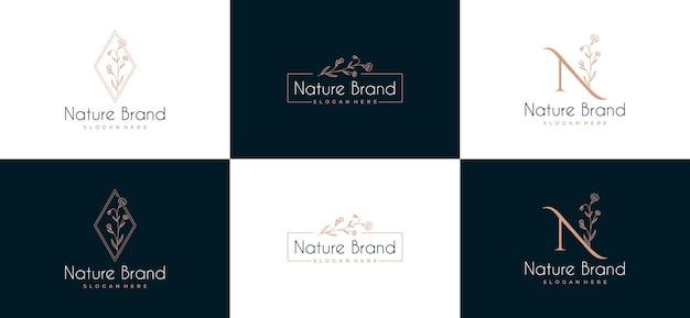 Conjunto de logotipo de marco de hoja de belleza Vector Premium