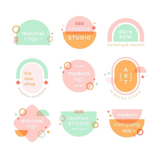 Conjunto de logotipo minimalista de colores pastel vector gratuito