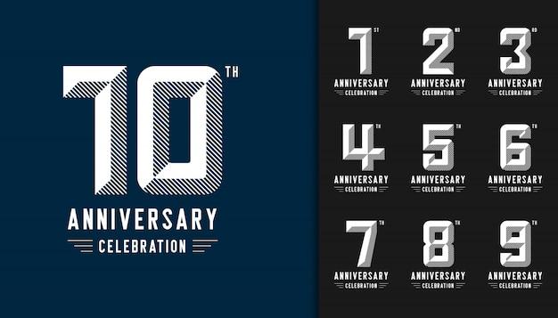 Conjunto de logotipo moderno aniversario celebración. Vector Premium