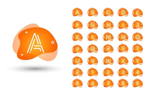 Conjunto de logotipo monograma. alfabeto líquido líquido inicial Vector Premium