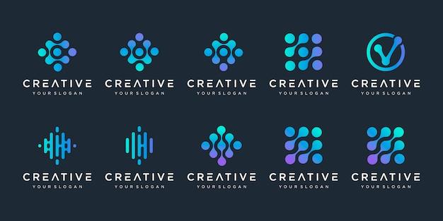 Conjunto de logotipo de monograma con concepto de punto. símbolo de chip de adn de átomo de molécula de biotecnología colorido universal. este logotipo es adecuado para investigación, ciencia, medicina, logotipo, tecnología, laboratorio, molécula. Vector Premium