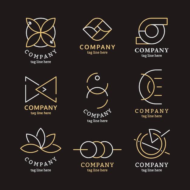 Conjunto de logotipo de negocios de oro vector gratuito