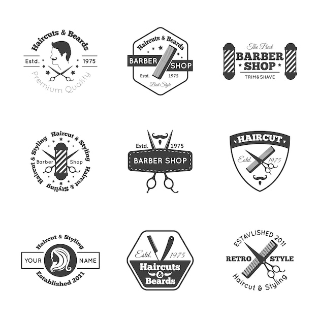 Conjunto de logotipo de peluquería vector gratuito