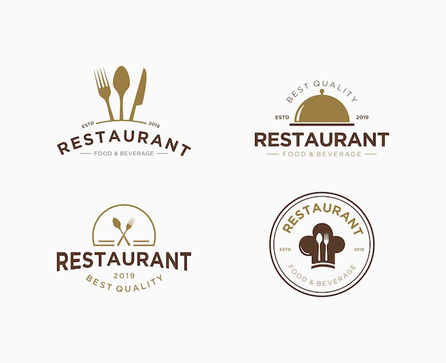 Conjunto de logotipo premium para restaurante Vector Premium