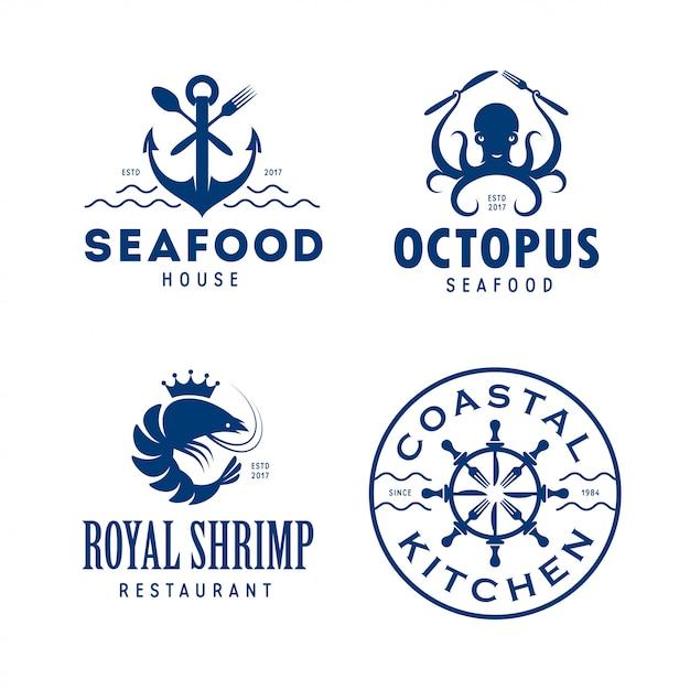 Conjunto de logotipo relacionado con mariscos Vector Premium