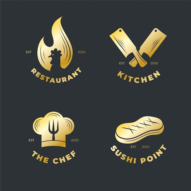 Conjunto de logotipo de restaurante retro dorado vector gratuito