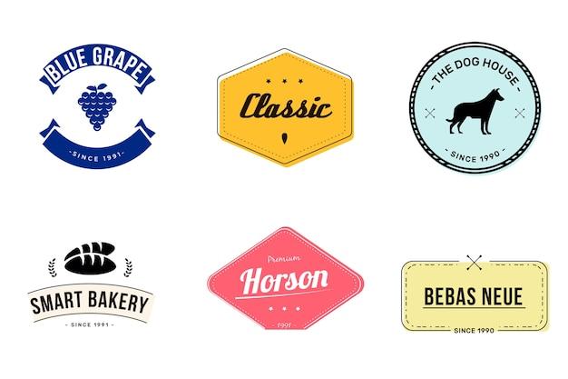 Conjunto de logotipo retro minimalista colorido vector gratuito