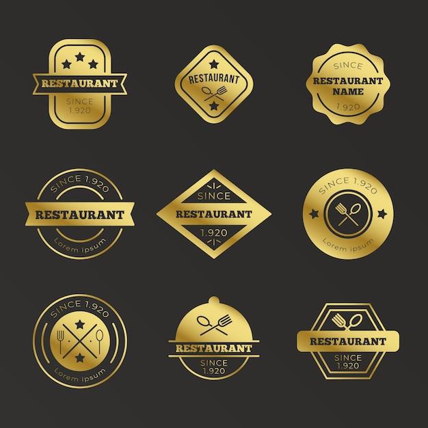 Conjunto de logotipo retro restaurante dorado vector gratuito