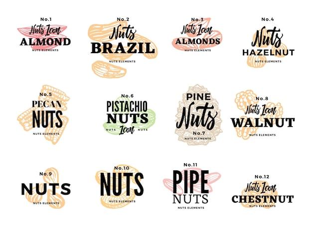 Conjunto de logotipos de alimentos orgánicos vector gratuito