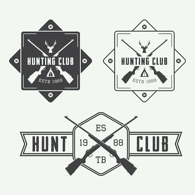 Conjunto de logotipos de caza Vector Premium