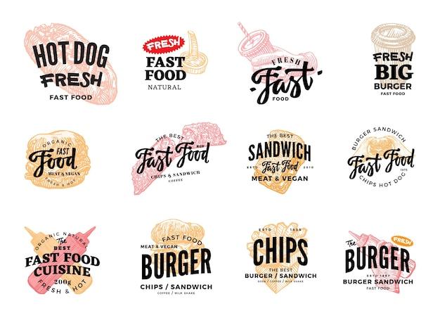 Conjunto de logotipos de comida rápida dibujados a mano vector gratuito
