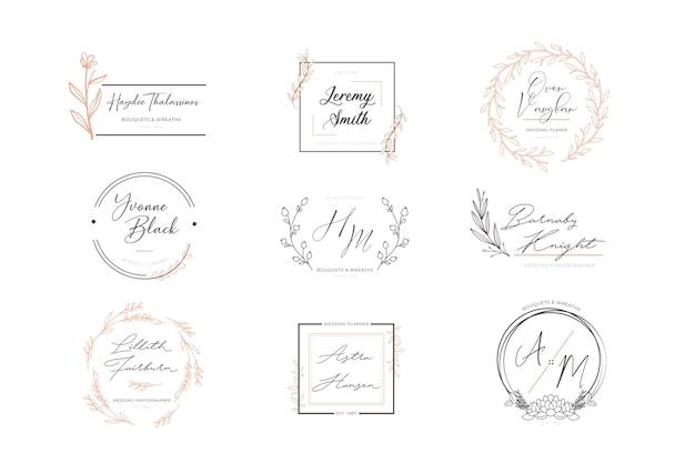 Conjunto de logotipos elegantes florales vector gratuito