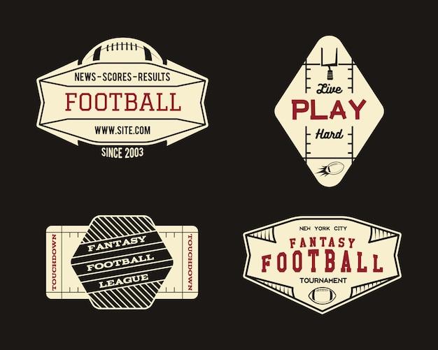 Conjunto de logotipos de fútbol americano Vector Premium