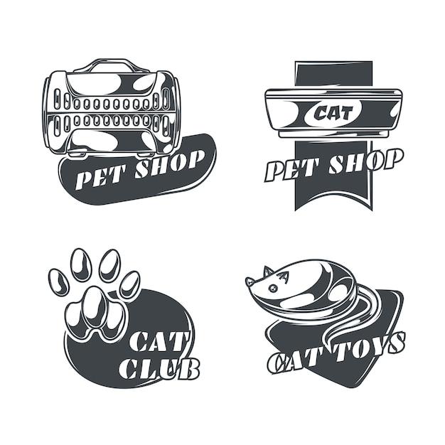 Conjunto de logotipos de gatos en estilo vintage vector gratuito