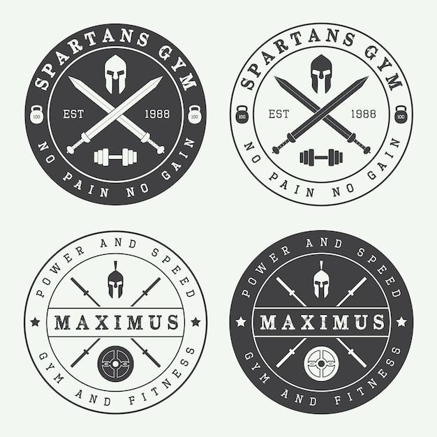 Conjunto de logotipos de gimnasio vintage Vector Premium