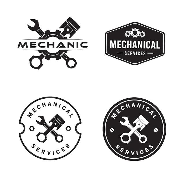 Conjunto de logotipos mecánicos, servicios, ingeniería, reparación. Vector Premium