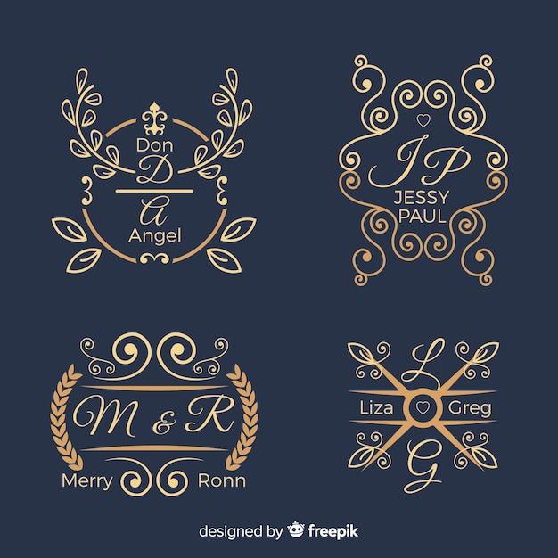 Conjunto de logotipos de monograma de boda vector gratuito