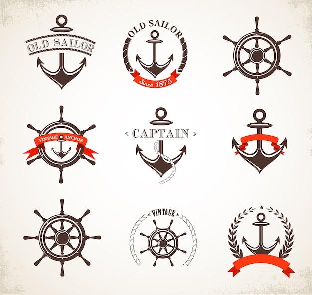 Conjunto de logotipos náuticos vintage Vector Premium