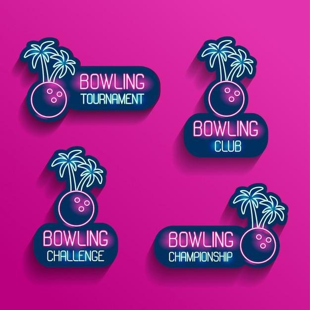 Conjunto de logotipos de neón en colores rosa-azul con sombras que caen. colección de 4 ilustraciones vectoriales para bolos tropicales para torneo, desafío, campeonato, club con bola de bolos y palmeras. Vector Premium