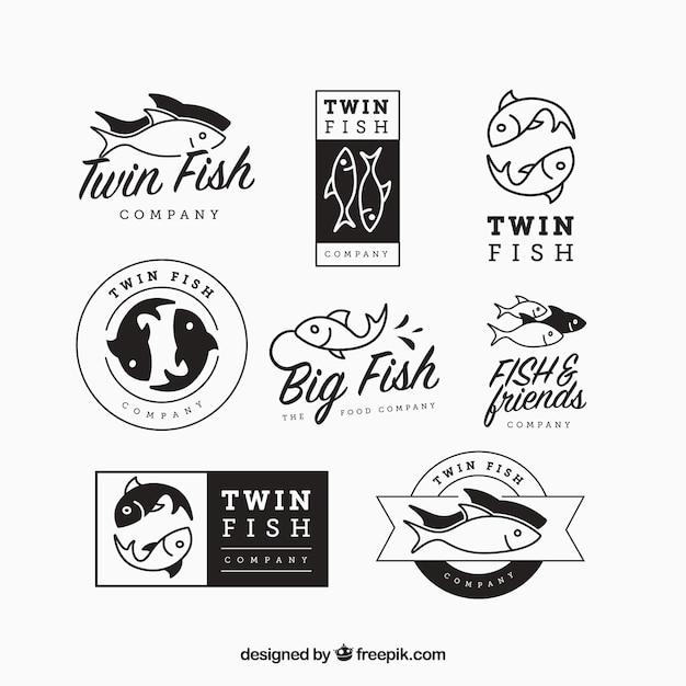 Conjunto de logotipos de peces para empresas Vector Premium
