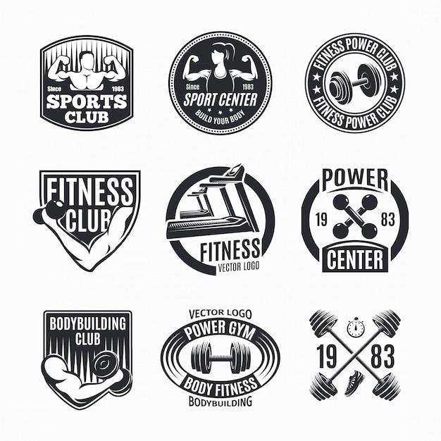 Conjunto de logotipos power fitness vector gratuito