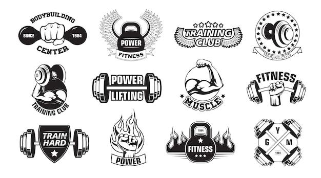 Conjunto de logotipos retro gimnasio vector gratuito