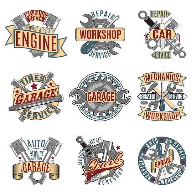 Conjunto de logotipos de servicio de reparación de automóviles a color vector gratuito