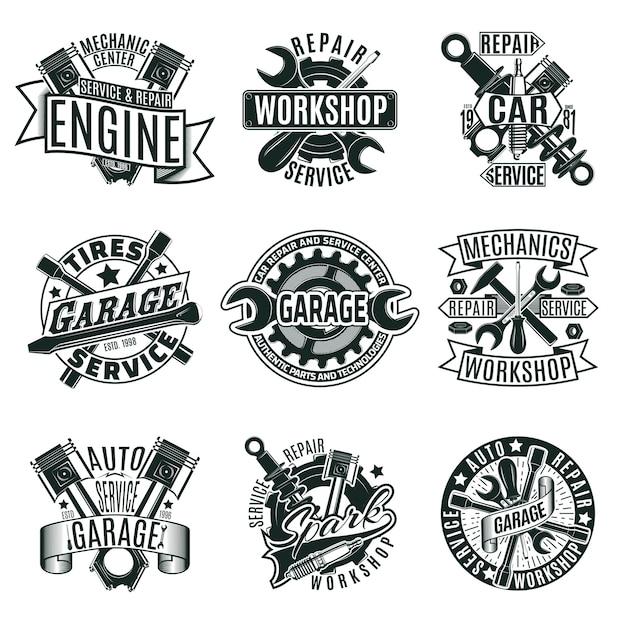 Conjunto de logotipos de servicio de reparación de automóviles monocromo vector gratuito