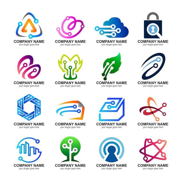 Conjunto de logotipos de tecnología Vector Premium