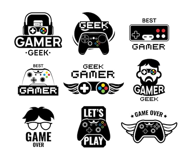 Conjunto de logotipos de videojuegos. emblemas con jugador, controlador de consola de joystick moderno y vintage, auriculares. ilustración de vector aislado para plantilla de etiqueta de juego en línea vector gratuito