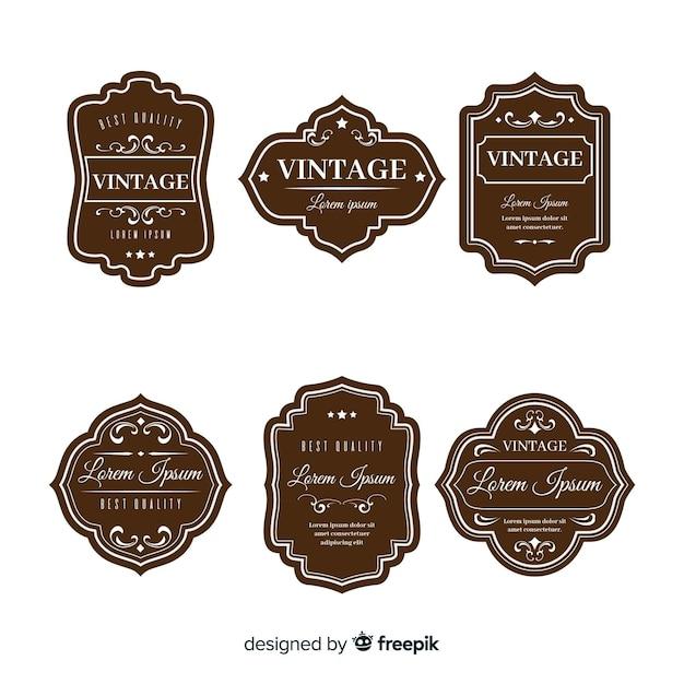 Conjunto de logotipos vintage marrones vector gratuito