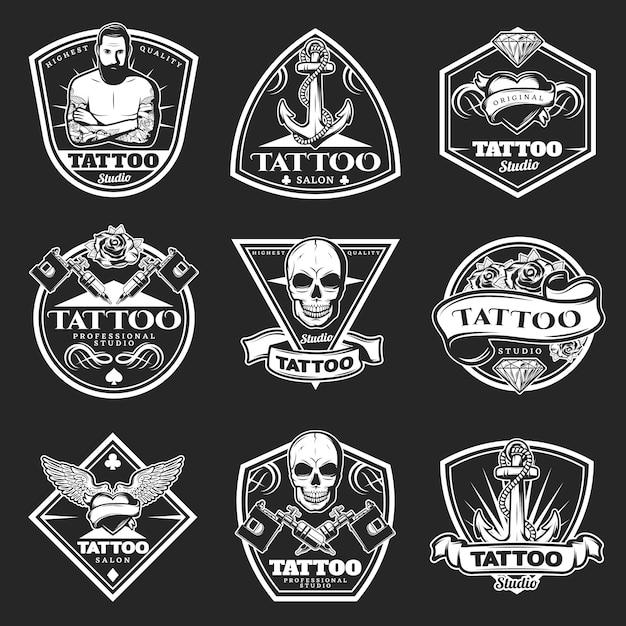 Conjunto de logotipos vintage tatoo studio vector gratuito