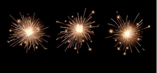 Conjunto de luces brillantes de bengala vector gratuito