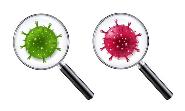 Conjunto de lupas con coronavirus conjunto aislado Vector Premium