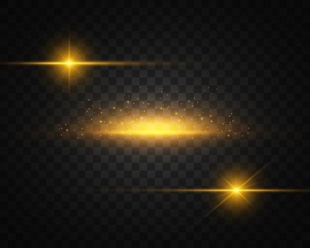Conjunto de luz amarilla, dorada brillante explota en transparencia Vector Premium