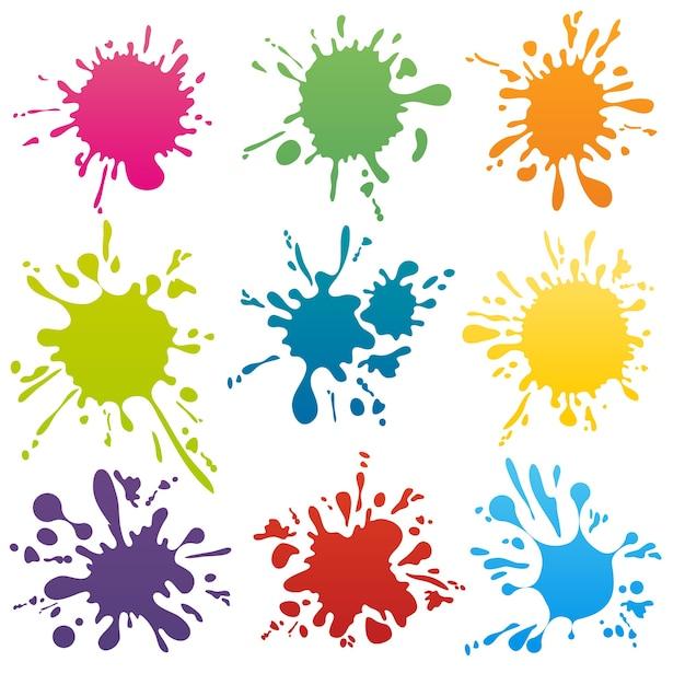 Conjunto de manchas de tinta de colores. salpicaduras de salpicaduras de forma abstracta. ilustración vectorial vector gratuito