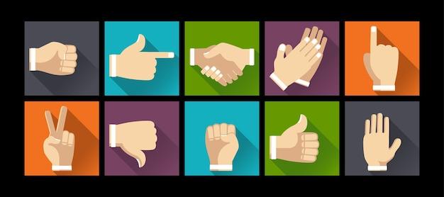 Conjunto de manos de gesto en la ilustración de diseño plano Vector Premium