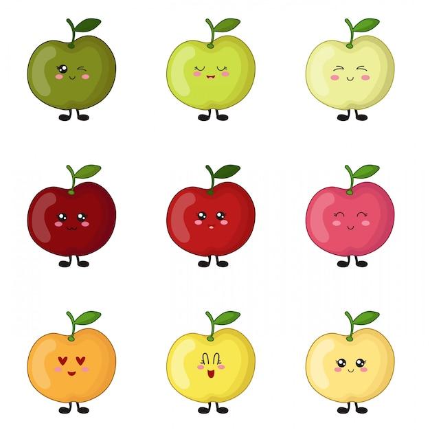 Conjunto De Manzanas Kawaii De Diferentes Colores Lindos