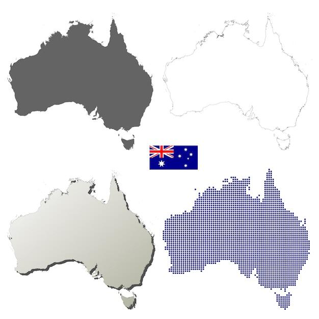 Conjunto de mapa de contorno de vector de australia | Descargar ...