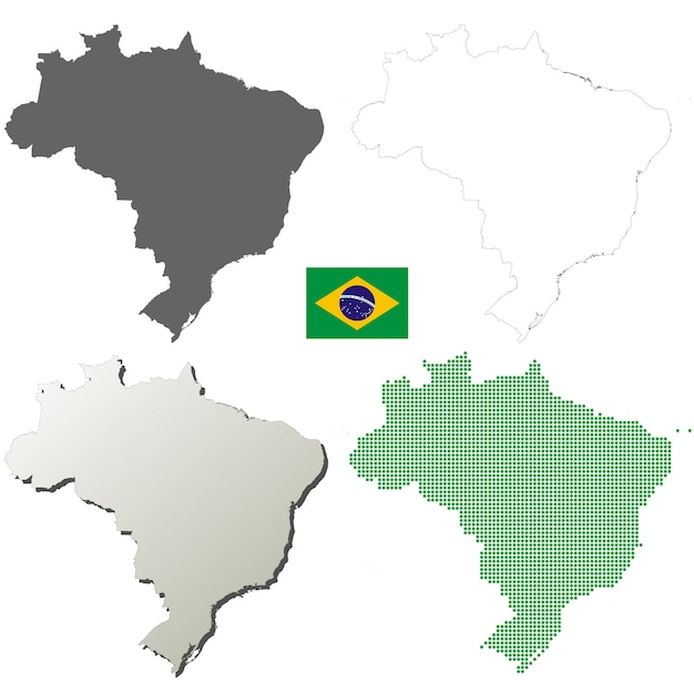 Conjunto de mapa de contorno de vector de brasil Vector Premium