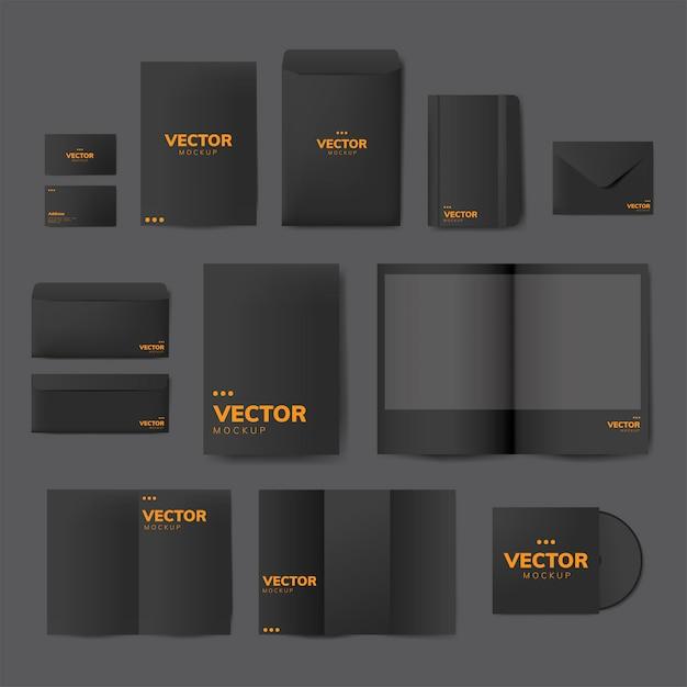 Conjunto de maquetas de diseños de material de impresión. vector gratuito