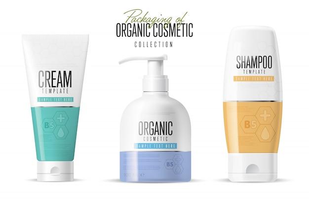 Conjunto de maquetas de marca de cosméticos realistas Vector Premium